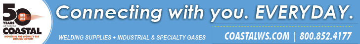 Coastal Welding. Connecting with you. EVERYDAY. Welding Supplies + Industrial & Specialty Gases. COASTALWS.COM. 800-852-4177