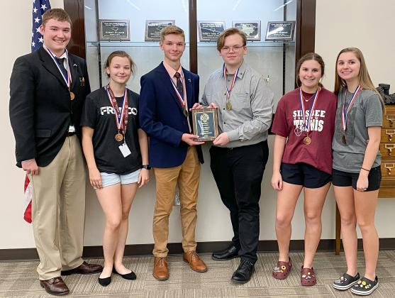Silsbee High School Policy (CX) Debate Team: Trey Bourgeois, Kaylee Bourgeois, Matthew Eyre, Milo Morgan, Emma Scott-Wellman, and Lauren Scott-Wellman.