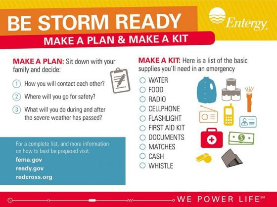 Entergy Texas suggests preparing prior to the storm.