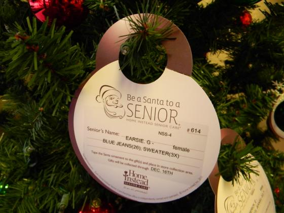 Look for Home Instead Christmas trees in locations across the area and Be a Santa to a Senior.